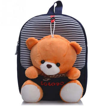 3D Fashion Design Children school bags backpack kindergarten girls boys kid backpack cute cartoon toys bear ribbons bow hot sale
