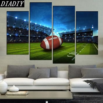 New diamond painting 4Pcs/sets modern Art Football In Green Field home decoration,diamond embroidery mosaic decorative style