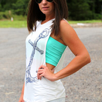 Sequins Anchor Muscle Tank {Off-White}