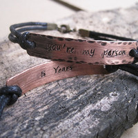 5th Anniversary Gift, couples bracelet copper, You're my person Anniversary bracelet, 5 Year anniversary bracelet gift for him her, Couples