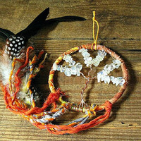 Tree of Life Dream Catcher - Made with Copper, Lemon Quartz, Feathers - Hippie, Gypsy - Home decor