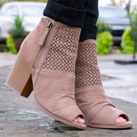 Katy Beige Open-Toe Booties
