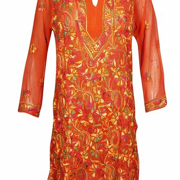 Mogul Interior Womens Tunic Dress Embroidered Bohemian Yellow Georgette Kurtis L: Amazon.ca: Clothing & Accessories
