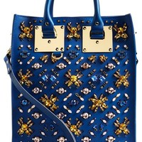 Women's Sophie Hulme Crystal Embellished 'Mini' Leather Tote - Blue