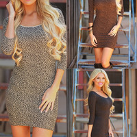 Fitted 3/4 Sleeve Animal Print Dresses