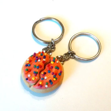 Best Friends Sugar Cookie Halves Key Chains, Polymer Clay, Food Accessories