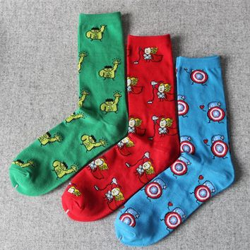 1P   Marvel Comics Avenger Captain America Cartoon Socks Batman Superman Lron Man Hulk socks Men Future Cotton Men Funny Socks