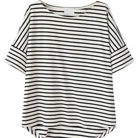 Monochrome Stripe Curved Hem T-Shirt