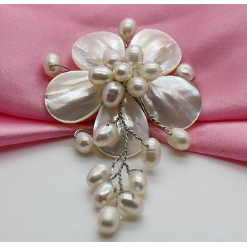 ASHIQI New Coming Natural Freshwater pearl Brooch handmade Flower Brooch Pin Romantic Wedding Bride Bridesmaid Jewelry
