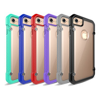 New Soft TPU Frame Hybrid Hard PC Transparent Clear Back Cover Case For iPhone 7 / 7 Plus Shockproof Protective Phone Cases