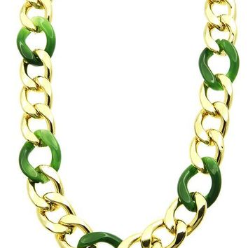 Metal And Lucite Chunky Chain Necklace