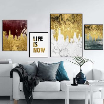 Canvas Posters And Prints Nordic Modern Flow Gold Marble Wall Art A4 Canvas Painting Picture Living Room Bedroom Home Decoration