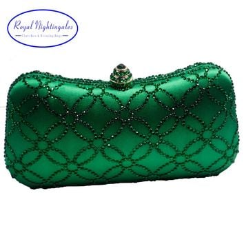 Flower Emerald Dark Green Rhinestone Crystal Clutch Evening Bags for Womens Party Wedding Bridal Crystal Handbag and Box Clutch