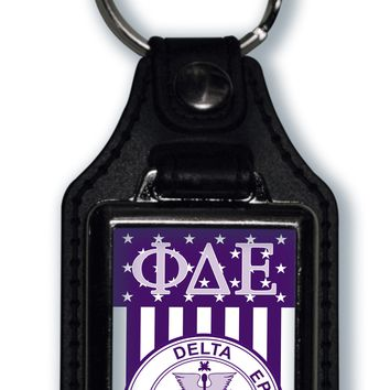 Phi Delta Epsilon US Flag Style Licensed Greek Life Keychain