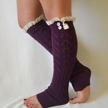 Machine knit purple leg warmerr with lace trim and buttons chunky leg warmers lace leg warmers boot socks boot cuffs valentines day gifts