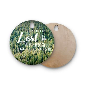 "Robin Dickinson ""Lost In The Woods"" Green Photography Nature Round Wooden Cutting Board"