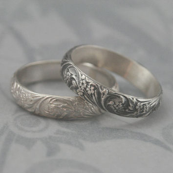 Bridal Bouquet Sterling Silver Wedding Band--Floral and Flourish Patterned Silver Ring--Custom made in YOUR size