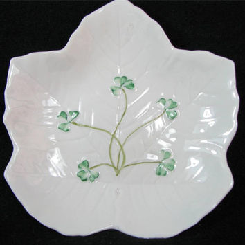 Vintage BELLEEK Leaf CANDY DISH 3rd Green Mark 1965 to 1981 Lovely
