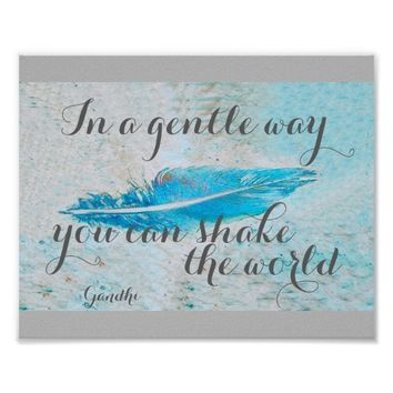 Gandhi quote motivational poster blue and gray