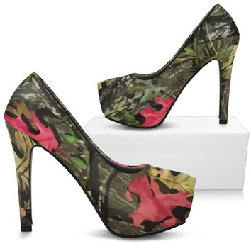 Green and Pink Camo High Heels