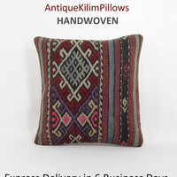 throw pillow antique kilim pillow boho rug pillow throw pillow cover decorative pillow home decor pillows  001020