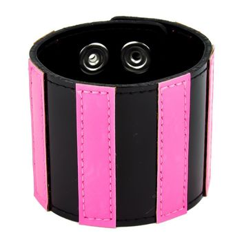 "Black & Pink Stripe Wristband Leather Bracelet 2-1/2"" Wide"