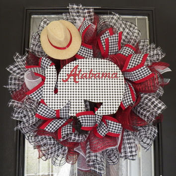 Alabama Crimson Tide Mesh wreath, Roll Tide Wreath, Alabama Football Decoration