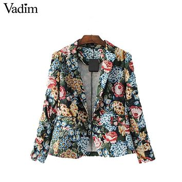 Vadim women vintage floral pleated blazer Notched collar pockets long sleeve coat casual outerwear casaco feminine tops CT1462