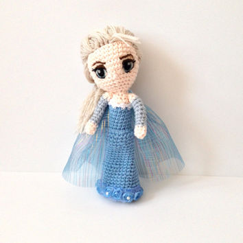 Amigurumi Doll Amigurumi Princess My Inspired Doll by Elsa Crochet Doll Toy Plush Kawaii Doll Handmade Toy Holiday Gift Ideas