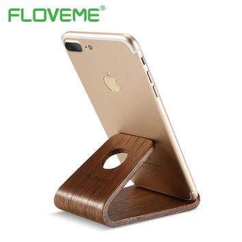 FLOVEME Mobile Phone Holder Stand For Table PC Any Phone Model Vintage Wood Universal Desktop Holder Mobile Phone Accessories