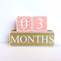 Wooden Baby Age Blocks - Months, Years, Weeks, Grade - Nursury- Photo Prop- Shower Gift