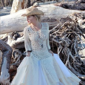 Vintage Crochet Maxi dress, Boho chic gypsy spell maxi dress, Boho dresses, True rebel clothing