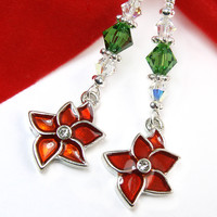Poinsettia Earrings Sparkly Crystals Christmas Jewelry Handmade OOAK