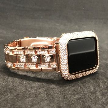 Apple Watch Band 38mm/40mm 42mm/44mm Rose Gold Womens Mens Series 1 2 3 4 Rhinestone Crystals/Case Cover Watch Face Bezel Lab Diamonds Bling