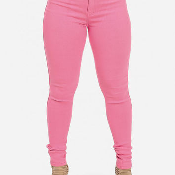 Pink One Button High Waist Skinny Jeans from ModaXpress