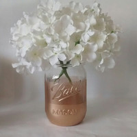 Painted Mason jars, vase. Gold, Shower centerpiece, weddings, candle holder, Home decor,Desk organizer.