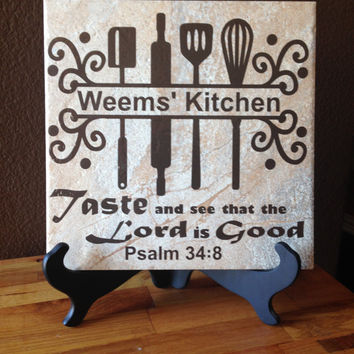 Custom Monogram Ceramic Tile with Vinyl Lettering Kitchen Blessing Tile Last Name Custom Ceramic Tile