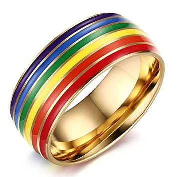 8mm Titanium Stainless Steel Rainbow Gay Lesbian 18k Gold Wedding Engagement Promise Band LGBT Pride Ring