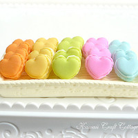 Handmade, Heart, Macaroons, Pastry, Bakery, Kawaii, Cute, Fake, Doll food, 1:6, Yellow, blue, mix, pink, yellow, orange, green, bjd, Blythe