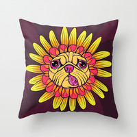 Flower Pug Warm Throw Pillow by Amanda Roberts
