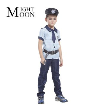 MOONIGHT Policeman Cosplay Costume Kids Super X-Men Costume Children Halloween Carnival Costume For Kids Party Cosplay Boys