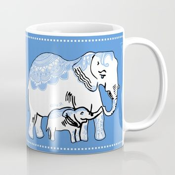 Ornate Elephants Blue and White Mug by Artist Abigail