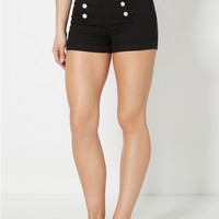 Black High Waist Sailor Short