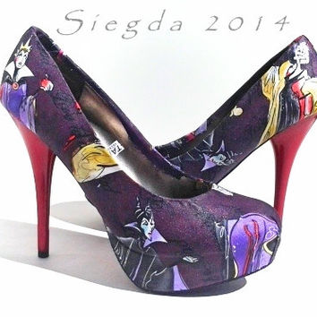 Love To Be Bad Pumps/ Disney Villain/ Cruella Deville, Maleficent, Evil Queen-Womens shoes-Custom-shoes-Cosplay-FanGirl-Fan Art-