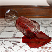 Fake Spilled Hillbilly Glass of Burgundy Merlot Wine Photo Prop Staging