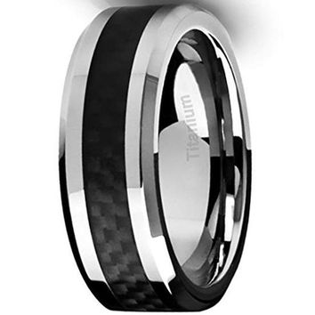 CERTIFIED 8MM Men's Titanium Ring Wedding Band Black Carbon Fiber Inlay and Beveled Edges