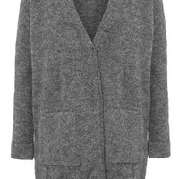 Stretch Mohair Cardi - Charcoal