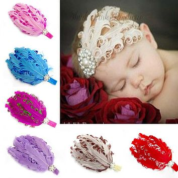 1pc Baby's bow hairband hair accessories flower worn edges headband baby satin ribbon hair band 12 colors