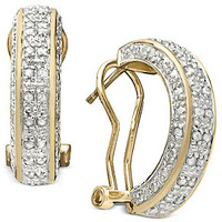 Victoria Townsend Diamond Earrings, 18k Gold over Sterling Silver Diamond Hoop (1/2 ct. t.w.)