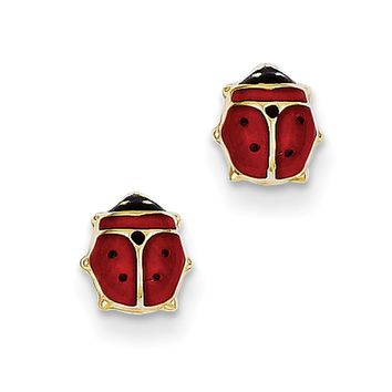 14kt Yellow Gold Red And Black Ladybug Enameled S Stud Earrings